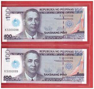 2013 ( 2014 ) PHILIPPINES 100 peso IGLESIA NI CRISTO Low No. KS 000098 & 99  UNC