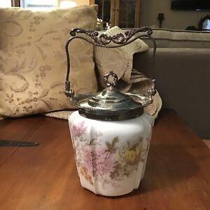 Antique Wave Crest Biscuit Cracker Jar Ornate Handle C.F. Monroe Silver Trim