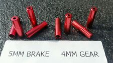 8 x Red Outer cable Housing Brake Gear Wire Cable End Cap (4x5mm) + (4x4mm)