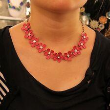 Collar Mujer Pequeño Flor Rojo Cristal Checa Ras cuello Super Bonito QT 5