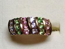 Tanzanite *Pink Tourmaline Green Garnet 10k Gold Channel Estate Ring Band Sz 6