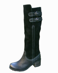 Ladies Black Leather Knee High Womens Heeled Boots Buckles NEW RRP £130