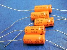 Siemens 100uF 25VDC Electrolytic 81009 Axial Capacitor Qty = 5