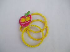 Girls Costume Jewellery Set, 3 Bangles,1 Ring And 1 Pair Stud Earrings Yellow BN
