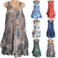 Plus Size Women Boho Sleeveless Mini Dress Summer Beach Baggy Tunic Tank Dress