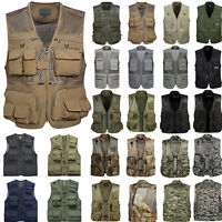 Mens Multi-pocket Cargo Army Hiking Vest Gilet Trekking Jacket Utility Waistcoat