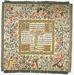 """NEW 60"""" FAIRY TALES BELGIAN TAPESTRY TABLE CHAIR THROW BED SPREAD 741"""