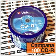 100 PZ CD-R VERBATIM EXTRA PROTECTION CD -R CAMPANA