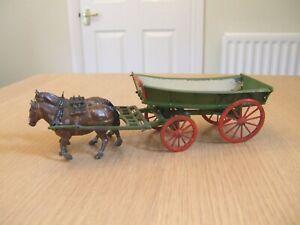 Vintage Britains farm lead horses & 4-wheel cart
