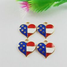 51532 Multi Colors Alloy Enamel Us Flag Heart Charms Findings Jewelry Crafts 29x