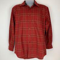 Pendleton Mens Medium Button Front Shirt Orange Plaid Wool Lodge Shirt Lined New