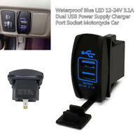 12-24V Waterproof Dual LED USB Car Auto Power Supply Charger Port Socket Device