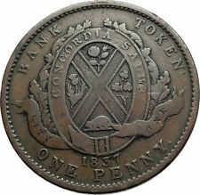 1837 LOWER CANADA Antique Winter Coat Costume PENNY BANK TOKEN Coin i79537