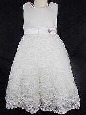 Bridesmaid christening dress flower girl party ruffle CREAM 2 years