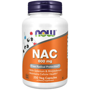 NOW® FOODS NAC N-Acetyl Cysteine 600 mg 250 Veg Capsules FRESH Made In USA