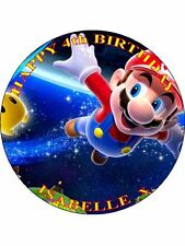 "SUPER MARIO - DESIGN 5 PERSONALIZED 7.5"" CIRCLE ICING CAKE TOPPER"