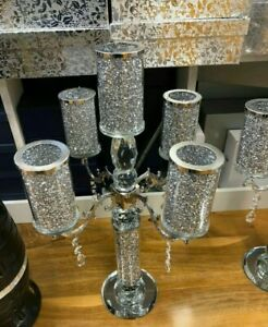 Candle Holder Crushed 5 holder Diamond Silver Crytal Filled