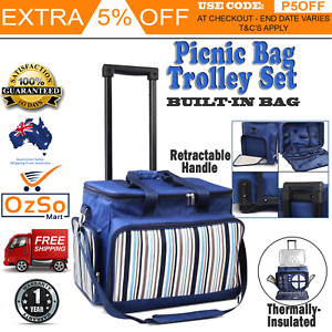 Picnic Bag Basket Set Trolley Cooler Bags On Wheels Insulated 6 Person Outdoor