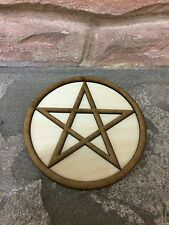 Large Pentagram Pentacle Altar Tile Wiccan Wicca Wooden Plate 28cm Paten Plaque