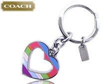 Coach Enamel Legacy Stripe Open Heart Keyring Fob New with Tags