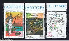 ITALIA 3 FRANCOBOLLI AVVENIMENTI STORICI DELLA SECONDA GUERRA MOND. 1993 nuovo**
