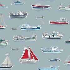 Marina Boat Seaside Nautical Fabric Grey 100% Cotton, Patchwork,Quilt,Makower FQ