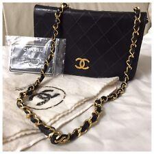 Authentic  Chanel Mini Vintage Matelasse Black Lambskin Shoulder Handbag