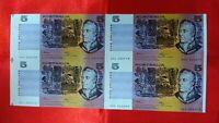 AUSTRALIA  $5 DOLLARS  FRASER / HIGGINS  ND 1990 UNCUT BLOCK OF 4 NOTES AU/UNC