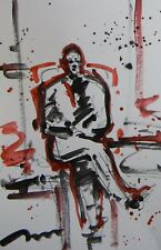 JOSE TRUJILLO ACRYLIC PAINTING ABSTRACT EXPRESSIONIST MAN SITTING FIGURE ART