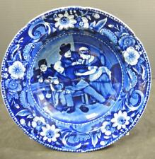 """1820s Antique Clews Staffordshire Dark Blue Bowl Wilkie Designs """"The Valentine"""""""
