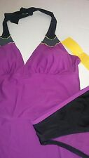 NWT Women's size 12 Everlast 2 piece halter tankini swimsuit purple black