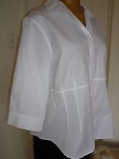 $64 NWT Jones New York Cotton Shirt/Blouse White Wrinkle Resistant White sz 22W