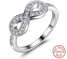 💎🎀 GENUINE STERLING SILVER 925 INFINITE LOVE RING FOR WOMEN WEDDING JEWELRY