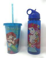 Disney Little Mermaid Travel Tumbler & Bottle With Lid Straw 16/20 oz.- Lot of 2