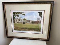 St John College Cambridge Signed Print Framed