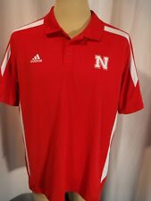 Nebraska Cornhuskers Red Adidas Polo - Men's L - Embroidered Logos - Really Nice