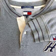 Vintage Tommy Hilfiger Mens Letterman Henley Shirt 90's Color Block Flag XL