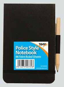 Police Style Notebook Elasticated Stiff Cover + FREE Pencil 96 Sheet Note Pad