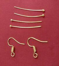 Yellow gold colour Ball Head pins 30mm x10 + Matching Ear hooks x10 Jewellery