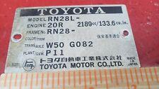 TOYOTA CELICA CORONA PICKUP 2.2L SOHC 20R Engine especs Emblem nameplate placard
