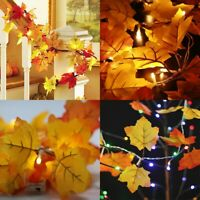 Artificial Autumn Fall Maple Leaves Garland Hanging Plant Leaf Lamp Home Décor