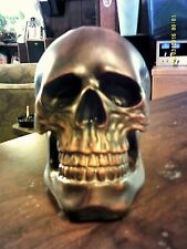 Large Ceramic Skull  copper brown colored  7 by 7 by 6  inches