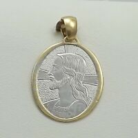 New 18K Two Tone Gold 750 Italy Jesus in Profile Cross Medal Charm Pendant 3.3gr