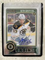 2014-15 OPC PLATINUM SETH GRIFFITH ROOKIE AUTO WHITE JERSEY SP #199 BRUINS RC