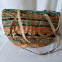 Cappelli Straworld Striped Purse Bag Blue Orange Green Lined Zip Closure
