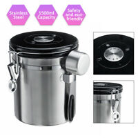 1.5L Coffee Beans Stainless Steel Storage Pot Canister Sealed Exhaust Valve