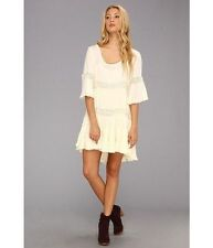 154466 NWD $128 Free People Daisy Lace High & Low Tiered Beige Dress Small S