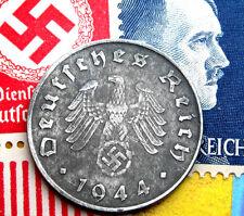 D-DAY 1944-D WW2 NAZI Germany 10 Reichspfennig SWASTIKA Coin & Hitler Stamp LOT