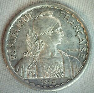 1945 B French Indo China Aluminum 10 Cents Coin Uncirculated Corn Stalks Laurel