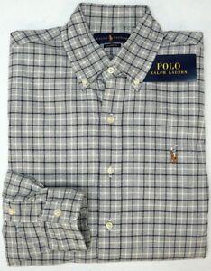 Polo Ralph Lauren Long Sleeve Shirt Mens Gray Plaid Oxford Grey Classic $98 NEW